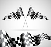 Checkered Flags. On grey background Royalty Free Stock Images