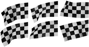 Checkered flags. Rendered image. White background Stock Photo