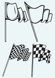 Checkered flags. Isolated on blue background Stock Photography