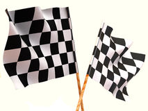 Checkered flags. 3d Very beautiful three-dimensional illustration, figure Stock Images