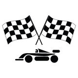 Checkered flags and car royalty free illustration