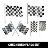 Checkered Flags Decorative Icon Set. White and black checkered flags on shaft and pole realistic color decorative icon set isolated vector illustration Stock Photography