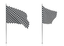 Checkered Flags Isolated on White Background Royalty Free Stock Images