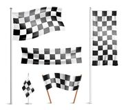 Checkered flags pictograms collection Royalty Free Stock Images