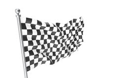 Checkered Flags. Racing flag, 3d rendering isolated on white Royalty Free Stock Photos