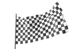 Checkered Flags. Racing flag, 3d rendering isolated on white Royalty Free Stock Images