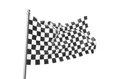 Checkered Flags. Racing flag, 3d rendering isolated on white Royalty Free Stock Photography