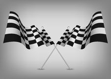 Checkered flags racing symbol  on white. Vector Stock Photo
