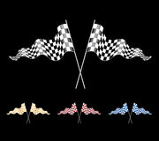 Checkered Flags set. Vector Checkered Flags set on black background Stock Image