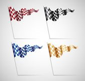 Checkered Flags Set. Colorful Checkered Flags Set on grey background Stock Photos