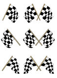 Checkered flags set. With double and single elements Royalty Free Stock Images