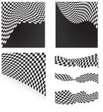 Checkered flags set background. S and elements Royalty Free Stock Images