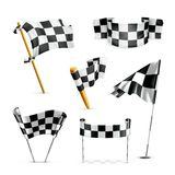 Checkered flags, set. Computer illustration on white background Stock Images