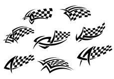 Checkered flags in tribal style. For tattoo or sports design Royalty Free Stock Photography
