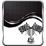 Checkered flags and trophy on wave background Royalty Free Stock Photos