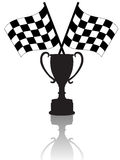 Checkered Flags and Victory Trophy. Silhouettes of Crossed checkered flags & a victory trophy cup, symbols of winning. With reflection Stock Photo