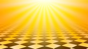 Checkered floor abstract background with yellow sun burst color Stock Photography