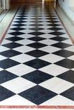 Checkered Floor. Black and White Checkered Floor in corridor Stock Photo