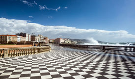 Checkered floor in city square. Livorno, Tuscany, Italy Stock Images