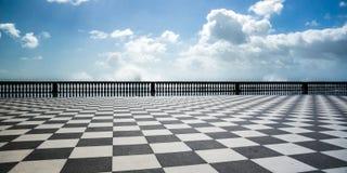Checkered floor in city square. Livorno, Tuscany, Italy Stock Photo