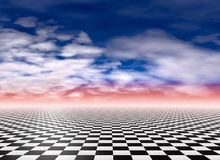 Checkered floor and clouds Stock Photography