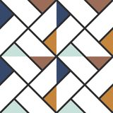 Checkered floor tile abstract colored triangles seamless background. Vector illustration. Brown, mint and blue triangles cells texture royalty free illustration
