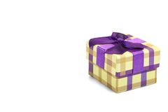 Checkered Gift Box With Tartan Pattern Isolated On White Backgro Stock Photography