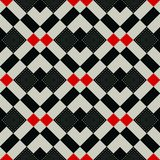 Checkered gingham fabric seamless pattern in black white and red, vector. Eps10 vector illustration