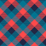 Checkered gingham fabric seamless pattern in grey blue and pink, vector Stock Photography