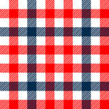 Checkered gingham plaid fabric seamless pattern in blue white and red, vector print Royalty Free Stock Photos