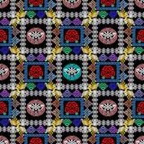Checkered greek vector seamless pattern. Colorful abstract check background. Lace style geometric frames, shapes, figures, circles.  Vintage flowers. Bright Royalty Free Stock Image