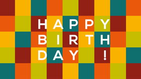 Checkered Happy Birthday card with text bouncing and sliding from one side to another on colorful background stock footage