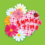 Checkered Heart, ladybird and daisies Royalty Free Stock Images
