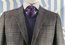 Checkered Jacket, Blue Sweater (horizonta. Close up of a grey checkered jacket with blue v-neck sweater and purple tie stock photo