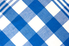 Checkered kitchen table cloth picnic linen background. Blue checkered textile picnic tablecloth background.Kitchen cloth backdrop.Restaurant cafe linen Royalty Free Stock Images