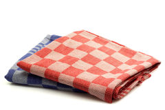 Checkered kitchen towels. Two checkered kitchen towels in different  colors Stock Photography