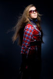 In checkered Kleid Stockfoto