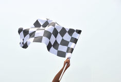 Checkered laufende Markierungsfahne Lizenzfreies Stockbild