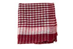 Checkered linen napkin isolated on white Royalty Free Stock Photos