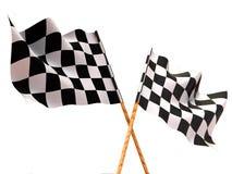 Checkered Markierungsfahnen Stockfoto