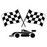 Checkered Markierungsfahnen und Auto lizenzfreie abbildung
