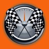 Checkered Markierungsfahnen-Zeichen Stockfoto