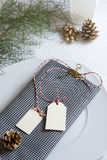 Checkered napkin and labels, Christmas table Stock Photos