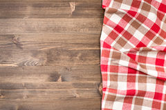 Checkered napkin from right side of table Stock Image