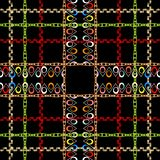 Checkered ornamental colorful vector seamless pattern. Geometric abstract plaid tartan background. Repeat striped backdrop. Tribal. Ethnic ornament with borders royalty free illustration