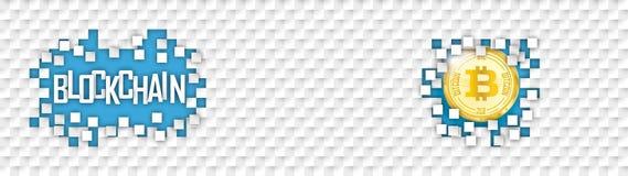 Checkered Paper Headline Hole Tiles Bitcoin Blockchain Stock Photo