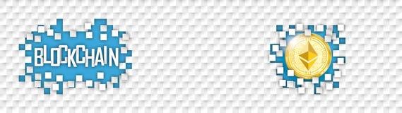 Checkered Paper Headline Hole Tiles Ethereum Blockchain Royalty Free Stock Photography