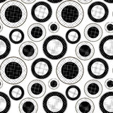 Checkered pattern of black and white circles. Black and white pattern of circles in the mesh Stock Photography