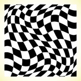 Checkered pattern chess board, checker board with distortion Stock Photo