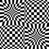 Checkered pattern with distortion effect. Mirrored chequered pattern with distortion effect. Symmetric pattern. Repetitive. - Royalty free vector illustration Stock Images